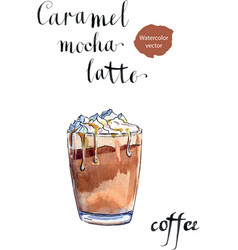 Glass caramel latte coffee with whipped cream vector