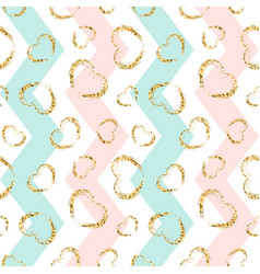 Gold heart seamless pattern blue-pink-white vector