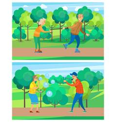grandparents activity in park seniors vector image