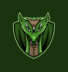 green dragon face mascot logo vector image