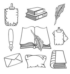 hand-drawn vintage books vector image