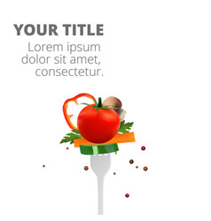 healthy eating concept with food and fork i vector image