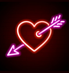 Heart with arrow neon sign vector image