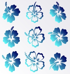 Hibiscus silhouette icons vector