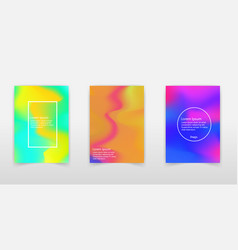 holographic poster set abstract backgrounds vector image