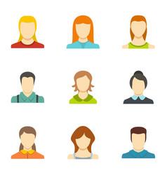 Identity icons set flat style vector