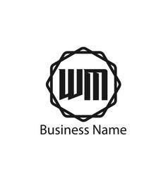 initial letter wm logo template design vector image
