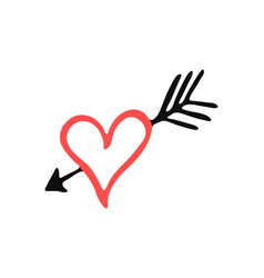 Isolated handdrawn heart silhouette vector