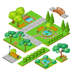 Isometric city park landscape elements set vector