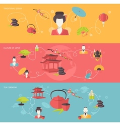 Japanese banner set vector image