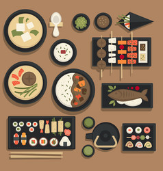 japanese food and sushi bento icons vector image