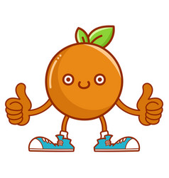 kawaii smiling orange fruit with sneakers cartoon vector image