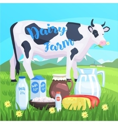 Landscape With Cow And Milk Products On The vector