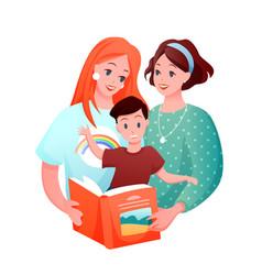 lesbian family cartoon flat vector image