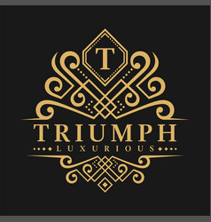 Letter t logo - classic luxurious style logo vector