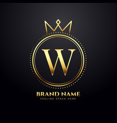 letter w golden logo concept with crown shape vector image