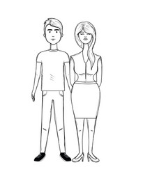 Line nice couple with hairstyle and wear vector