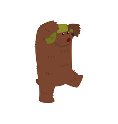 male brown bear character in green earflap cartoon vector image