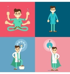 Male dentist cartoon characters set vector