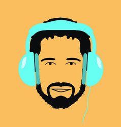 man dj with blue headphones icon vector image