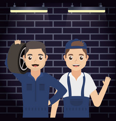 Men mechanics workers characters vector