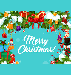 merry christmas wish ornament greeting card vector image