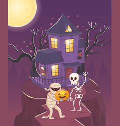 mummy and skeleton with pumpkin halloween vector image