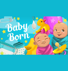 Newborn boy and girl baby shower greeting card vector