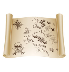 old treasure map on scroll vector image