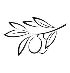 Olive branch with berries black icon vector