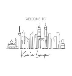 One single line drawing kuala lumpur city vector