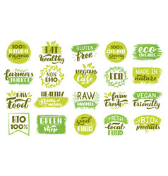 organic eco stickers green natural food labels vector image