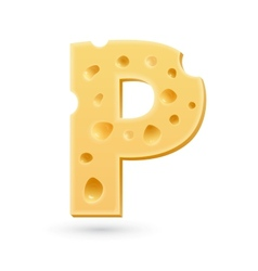 P cheese letter Symbol isolated on white vector image