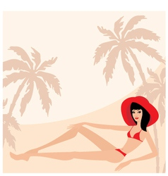 palm trees and woman vector image