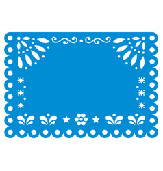 Papel picado template design in blue vector