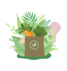 paper bag with healthy food eco friendly vector image