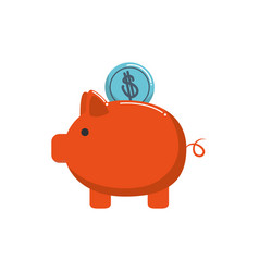 piggy bank with coin money business financial vector image