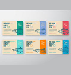 premium quality fish labels set abstract vector image
