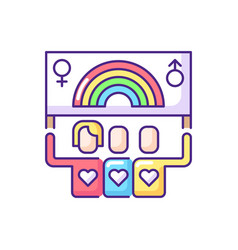 Pride parade with rainbow flag banner rgb color vector