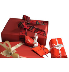 red christmas gifts vector image