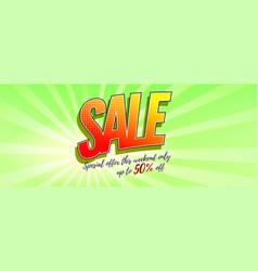 sale pop art background in style comics book vector image