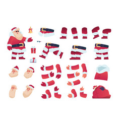 Santa claus kit xmas grandfather with bag and vector