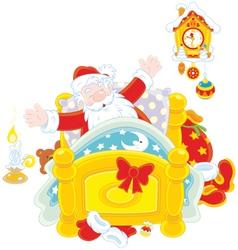 Santa waking up vector