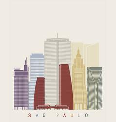 sao paulo v2 skyline poster vector image