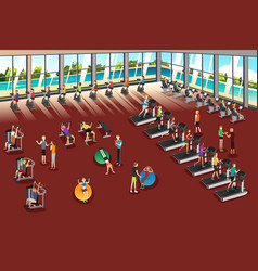 scenes inside a fitness center vector image