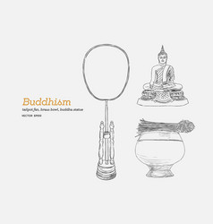 Set of buddhism hand draw sketch vector
