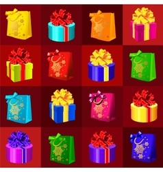 Set of gift boxes and bags on a red background vector
