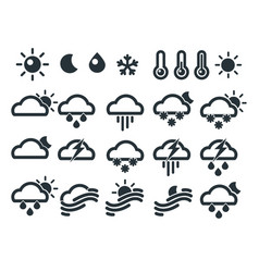 Set of weather widget icons vector