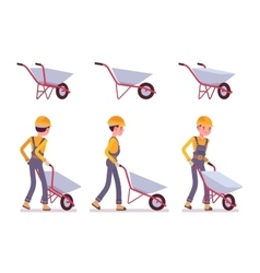 Set of wheelbarrow and builder vector image vector image