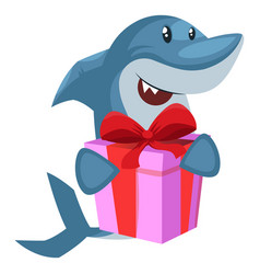 Shark with birthday present on white background vector